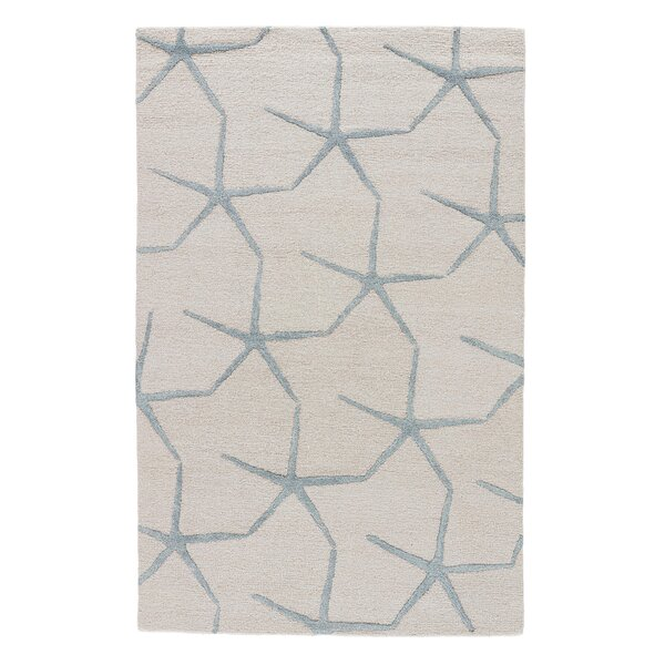 Farley Coastal Ivory/Blue Area Rug by Rosecliff Heights