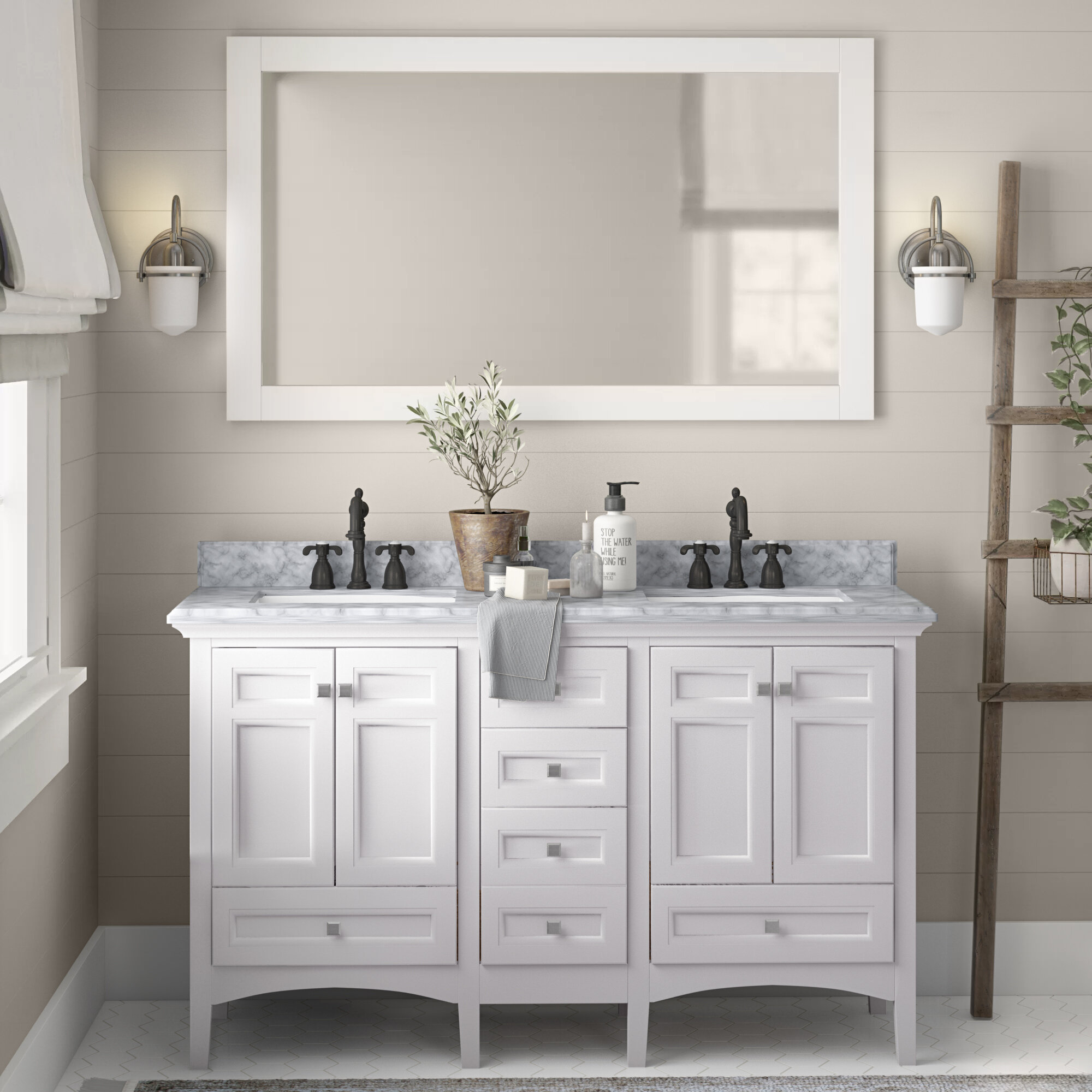 Luz 60 Double Sink Bathroom Vanity Set