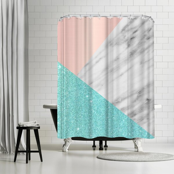 Emanuela Carratoni Spring Marble Collage Shower Curtain by East Urban Home