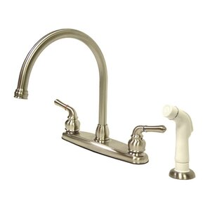 Kingston Brass Magellan Double Handle Goose Neck Kitchen Faucet with Side Spray