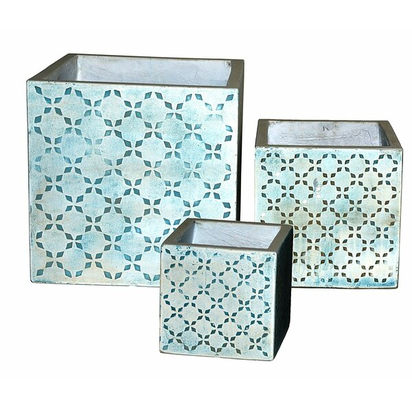 Renaissance Cube 3-Piece Composite Planter Box Set by Happy Planter