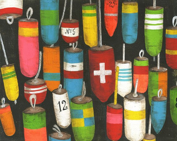 Hanging Buoys Canvas Art by Oopsy Daisy