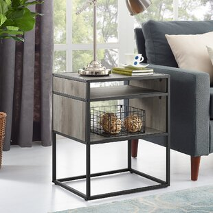 Nowak Metal and Wood End Table Williston Forge