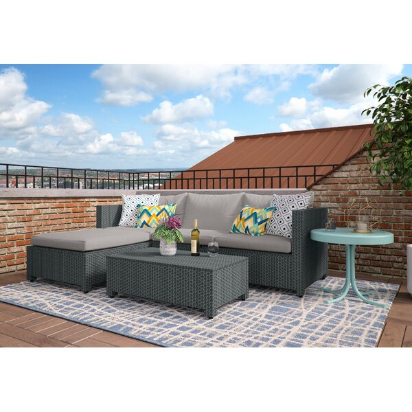 Lachesis 5 Piece Rattan Sectional Seating Group with Cushions by Mercury Row