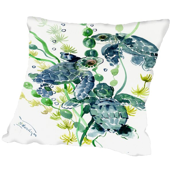 Thee Sea Turtles Throw Pillow by East Urban Home