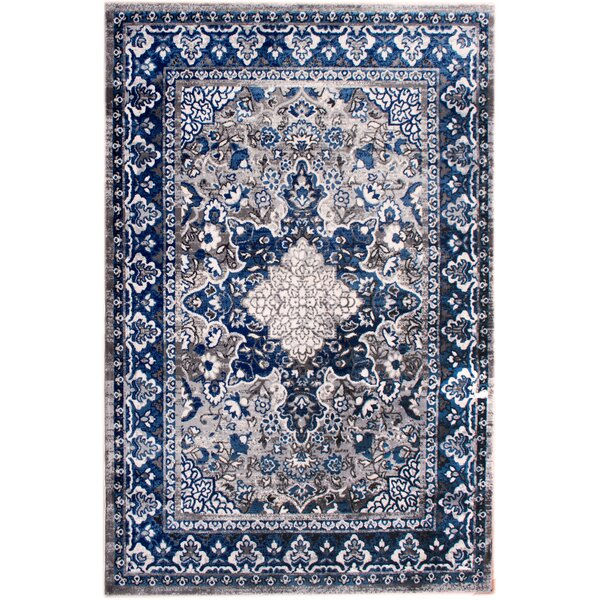 Rosie Modern Gray/Blue Area Rug by Bungalow Rose