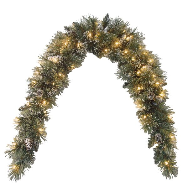 Pine Pre-Lit Mantle Garland with Clear Lights by Alcott Hill
