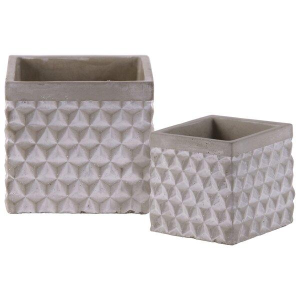 Epley Triangle Pattern Design 2-Piece Cement Pot Planter Set by Wrought Studio