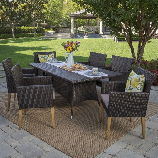 Bo Outdoor Wicker 7 Piece Dining Set with Cushions by Mistana