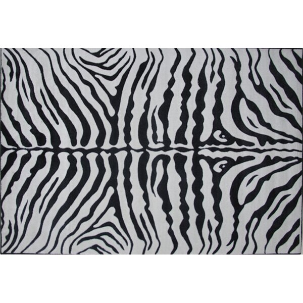 Supreme Zebra Skin Machine Woven Black/White Area Rug by Fun Rugs