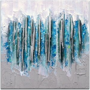 Array Icicles in Silver Painting on Canvas by Omax Decor