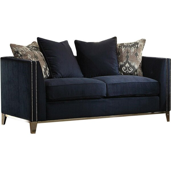 Loveseat With 4 Pillows, Blue Fabric By Winston Porter