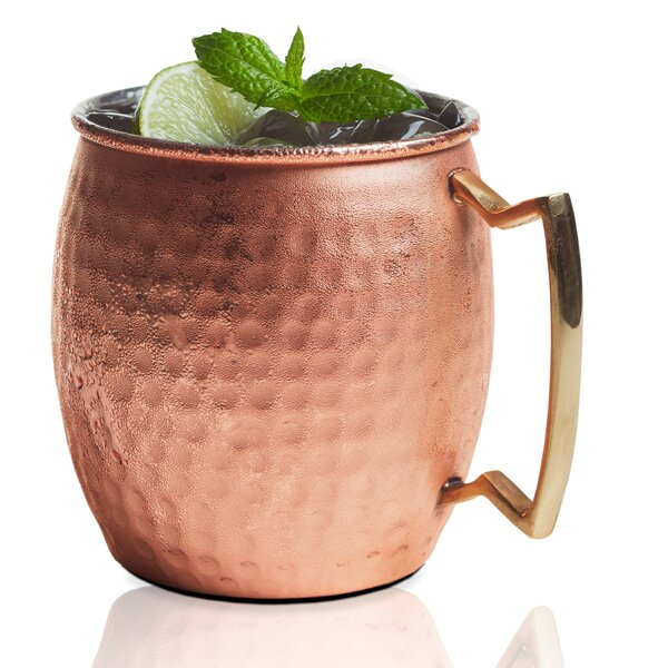 Stainless Steel Hammered Belly Shape 20 oz. Moscow Mule Mug (Set of 2) by Brilliant