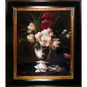 Peonies in a Vase by Edouard Manet Framed Painting Print on Wrapped Canvas by Tori Home