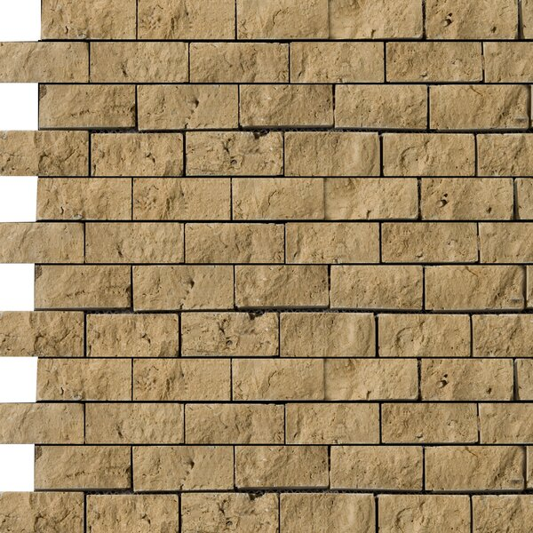 Travertine 1 x 2/12 x 12 Splitface Offset Mosaic in Tumbled Mocha by Emser Tile