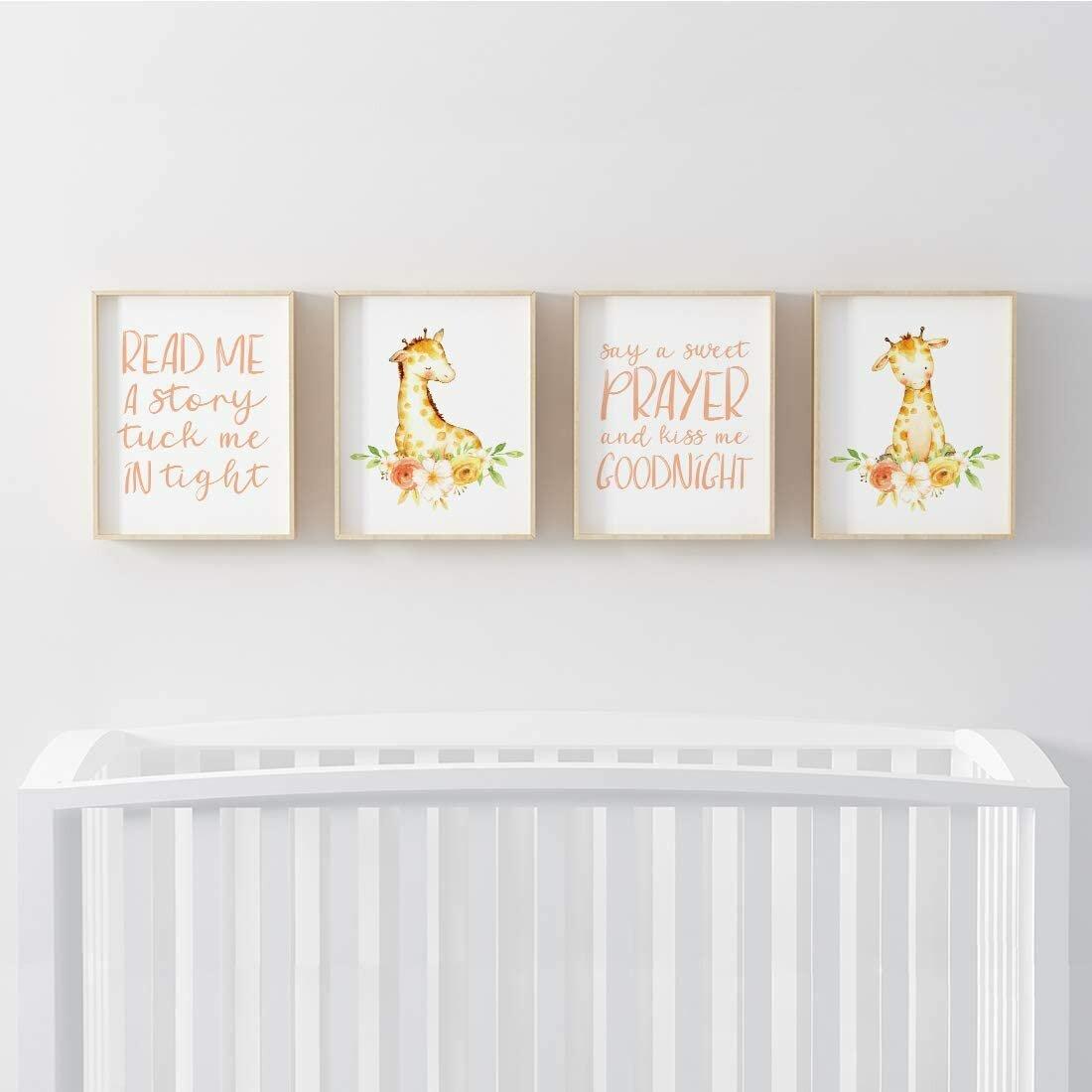Harriet Bee Nursery Room Wall Art Read Me A Storey Tuck Me In Tight Say A Sweet Prayer Kiss Me Goodnight Girl Giraffe Wayfair Ca