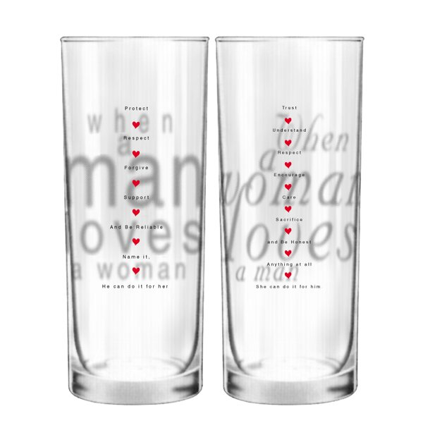 Together in Love Couple 13.5 oz. Drinking Glass (Set of 2) by BoldLoft