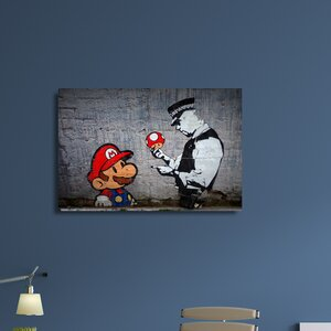 'Mario Caught Speeding' by Banksy Photographic Print on Canvas by Pingo World