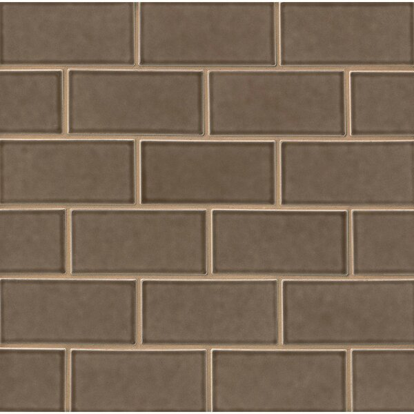 Park Place 3 x 6 Ceramic Subway Tile in Matte Brown by Grayson Martin