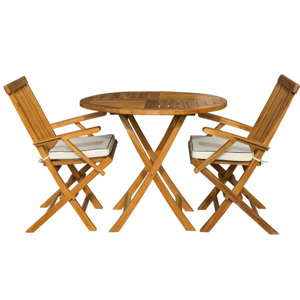 Villarreal 3 Piece Teak Bistro Set with Sunbrella Cushions by Bayou Breeze