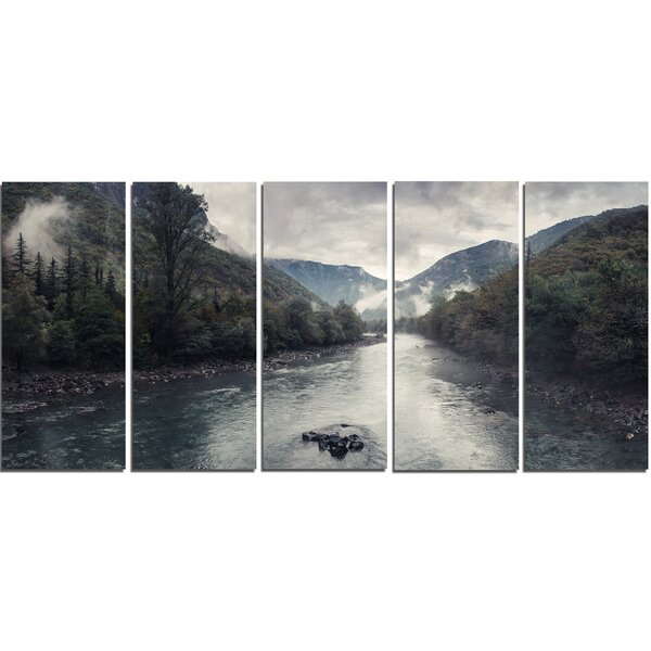 Mountain River with Fog and Rain 5 Piece Photographic Print on Wrapped Canvas Set by Design Art