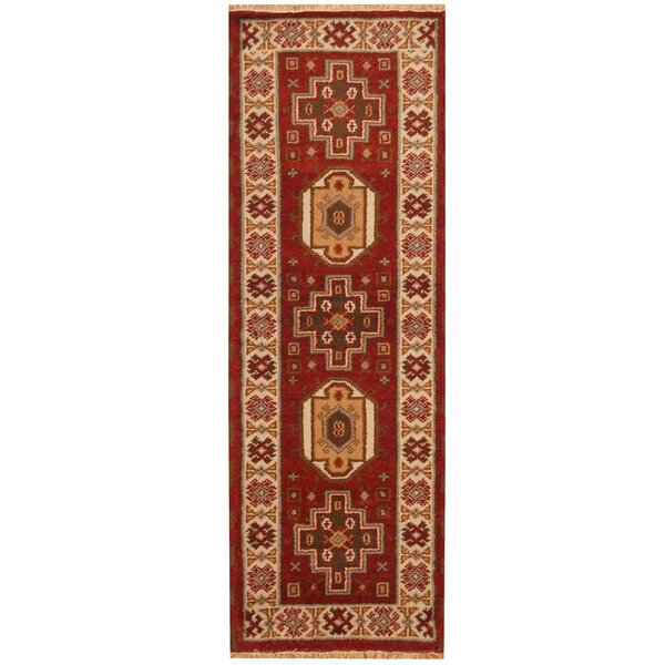 Kazak Hand-Knotted Red/Ivory Area Rug by Herat Oriental