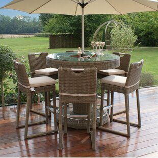 Meinrad Round 6 Seater Bar Set With Cushions And Ice Bucket
