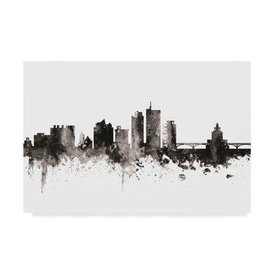 "Cedar Rapids Iowa Skyline Black White' Graphic Art on Wrapped Canvas Wrought Studio™ Size: 12"""" H x 19"""" W x 2"""" D -  D4B837504EBE40ED943B25250D0AD58A"