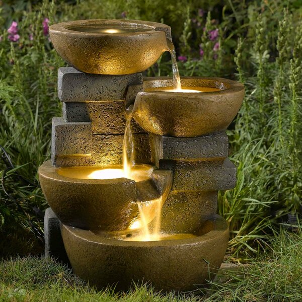 Resin/Fiberglass Zen Tiered Pots Fountain with LED Light by Jeco Inc.