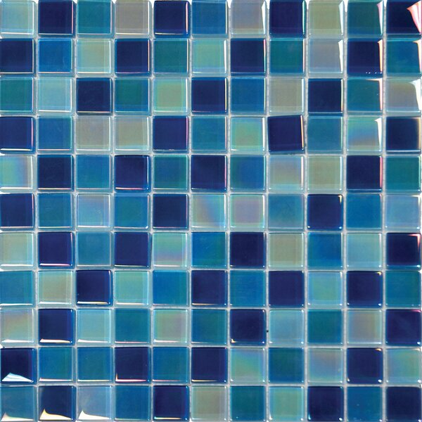 Iridescent 1 x 1 Glass Mosaic Tile in Iridiscent Blue by MSI