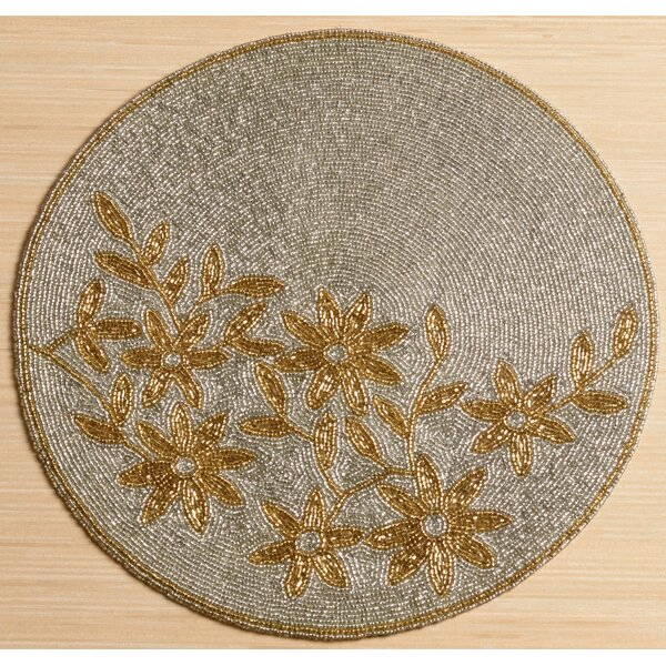 Glass Beaded Flower Placemat by Kindwer