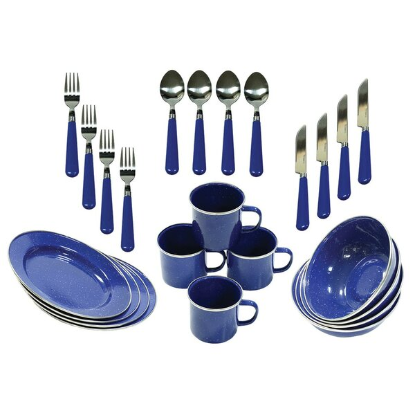 Enamel Camping 24 Piece Dinnerware Set, Service for 4 by Stansport