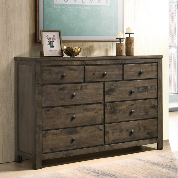 Teignmouth Weathered Distressed 9 Drawer Double Dresser by Three Posts