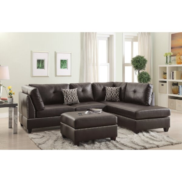 Turnpike Reversible Sectional with Ottoman by Charlton Home