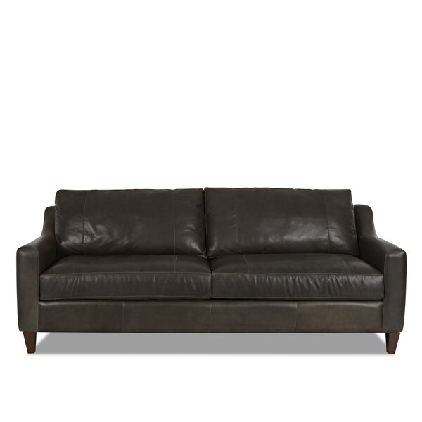 Lancashire Leather Sofa by Three Posts