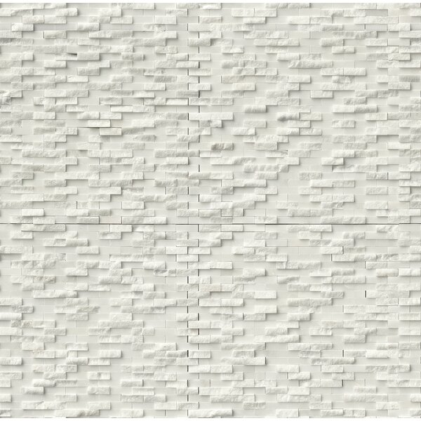 Arabescato Splitface 0.4 x 1.2 Marble Mosaic Tile in White by MSI