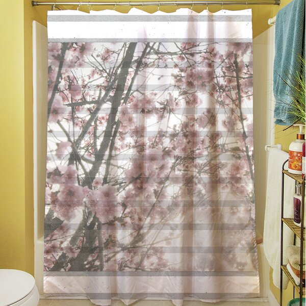 Cherry Blossom Stripes Shower Curtain by Manual Woodworkers & Weavers