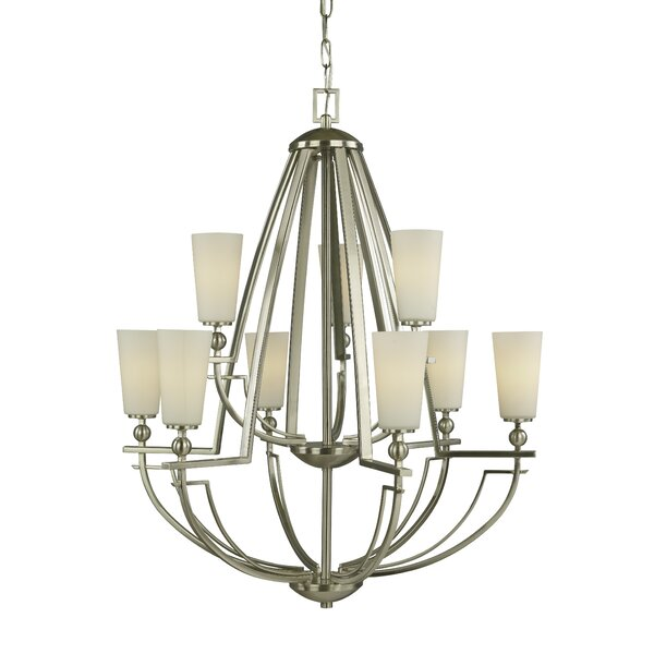 Aurora 9-Light Shaded Tiered Chandelier by Woodbridge Lighting Woodbridge Lighting