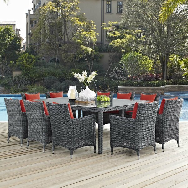 Alaia 11 Piece Rattan Sunbrella Dining Set with Cushions by Brayden Studio