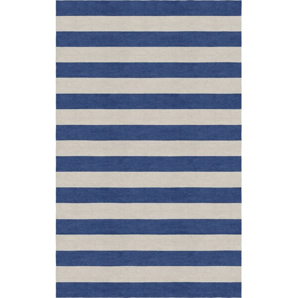 Crofoot Stripe Hand-Tufted Wool Silver/Navy Area Rug by Harriet Bee
