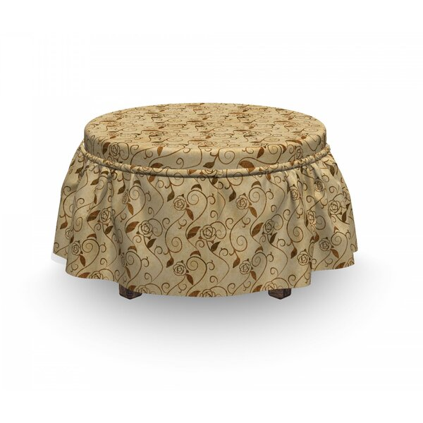 Blooming Curled Flowers Ottoman Slipcover (Set Of 2) By East Urban Home
