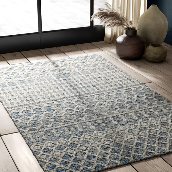 Jeannine Handwoven Wool Blue/Ivory Area Rug by Greyleigh