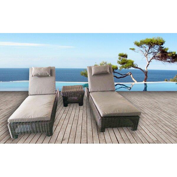 Galen 3 Piece Chaise Lounge with Cushion by Bayou Breeze Bayou Breeze