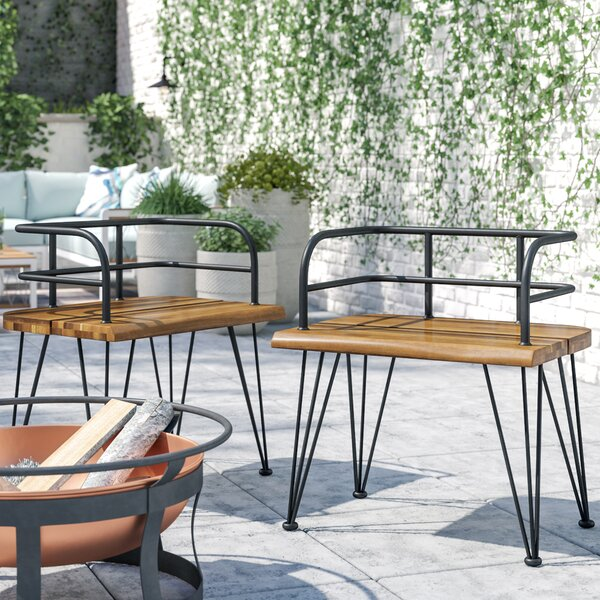 Hansell Outdoor Industrial Patio Dining Chair (Set of 2) by Williston Forge