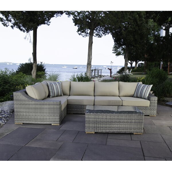 Corsica 6 Piece Rattan Sunbrella Sectional Seating Group with Cushions by Madbury Road