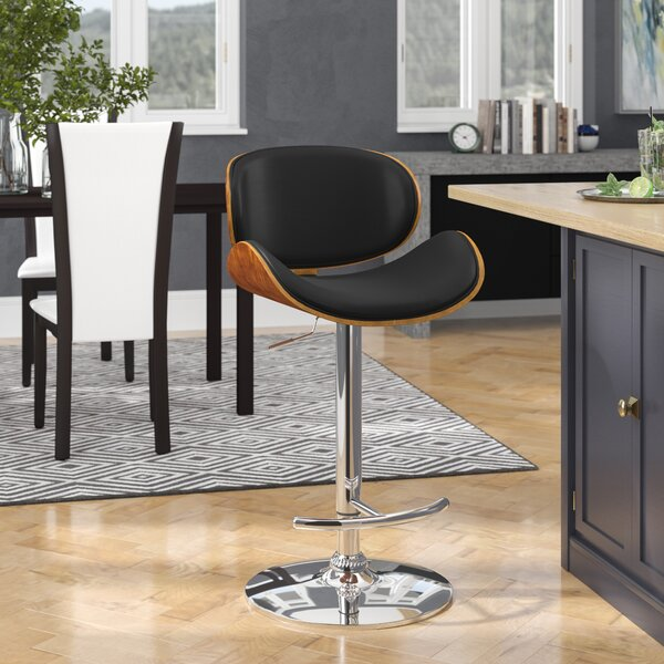 Brennan Adjustable Height Swivel Bar Stool by Wade Logan