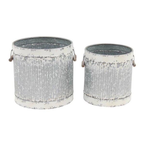 Farmhouse Cylinder Distressed 2-Piece Barrel Planter Set by Cole & Grey