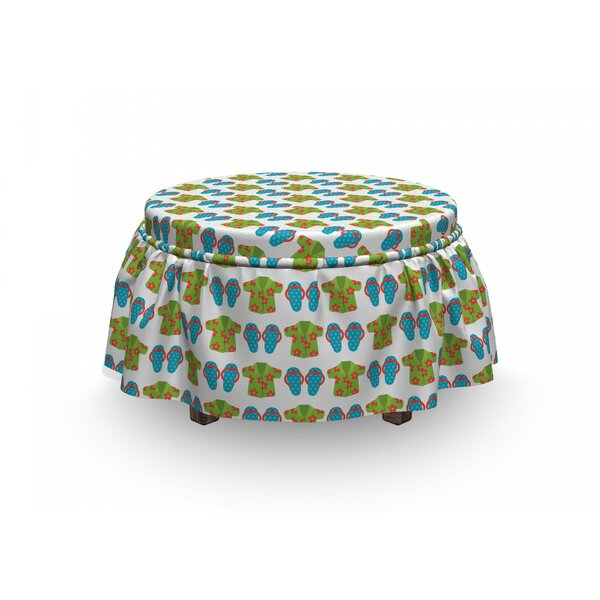 Exotic Floral Shirts Ottoman Slipcover (Set Of 2) By East Urban Home