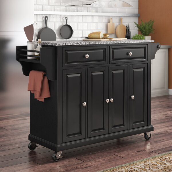 Best #1 Hedon Kitchen Cart With Granite Top By Three Posts Sale