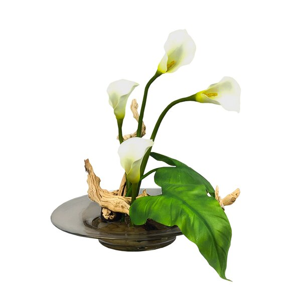 Calla Lilies Floral Arrangement in Vase by Bloomsbury Market